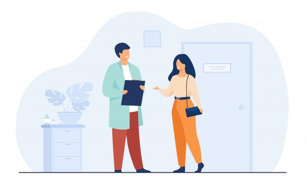 Ilustração colorida de uma mulher visitando um médico.