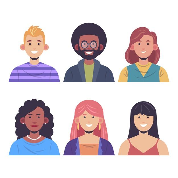 Ilustração colorida de várias pessoas, homens e mulheres, com cores de pele e estilos de cabelo diferentes. Todos sorriem.