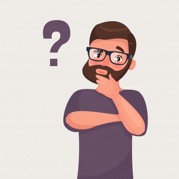 Ilustração colorida de homem com óculos e barba segurando o queixo, questionando. Há uma interrogação ao lado do rosto dele.